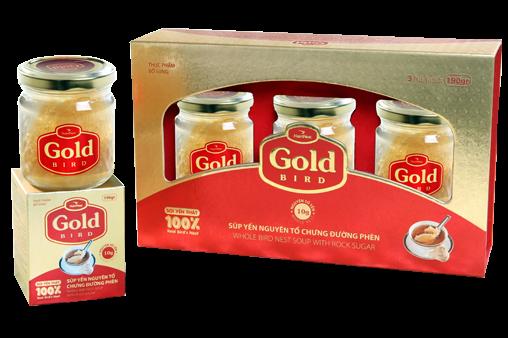NutriNest - Gold Bird Súp Yến Nguyên Tổ Chưng Đường Phèn Hộp Qùa 3 Lọ 190g