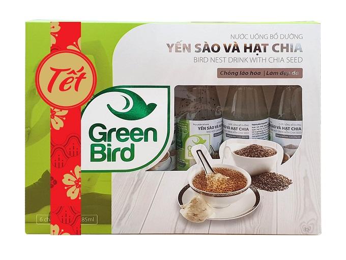 Hộp quà Tết Nước Yến Sào Và Hạt Chia Green Bird – 6 chai 185ml - Nutri