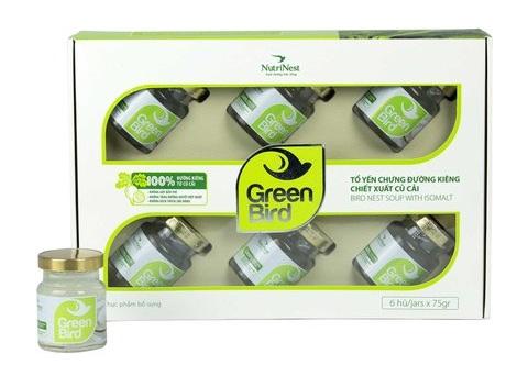 Nước Yến Green Bird chưng đường ăn kiêng - hộp quà 6 hũ 75gr
