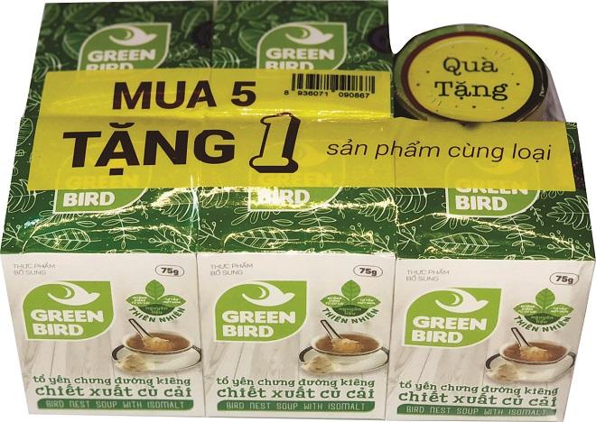 Nước Yến Green Bird chưng đường ăn kiêng - mua 5 tặng 1 hũ 75gr - Nutri